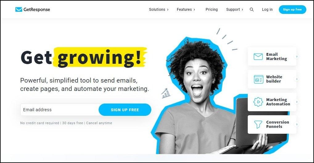getresponse - webinar platforms for small businesses.